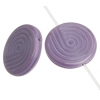 Glass Bead 18mm Round Twister Pattern Mauve Silk